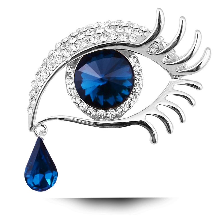 Blue Eye TearDrop Silver Brooch