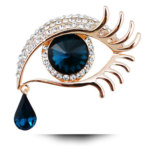 Blue Eye TearDrop Gold Brooch
