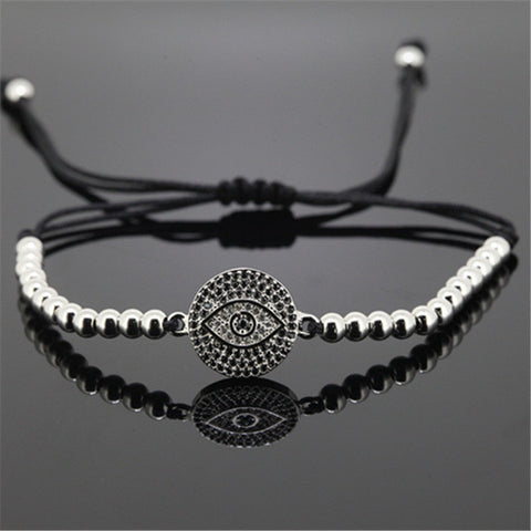 Men's Evil Eye Silver Beaded Bracelet - Lulugem.com