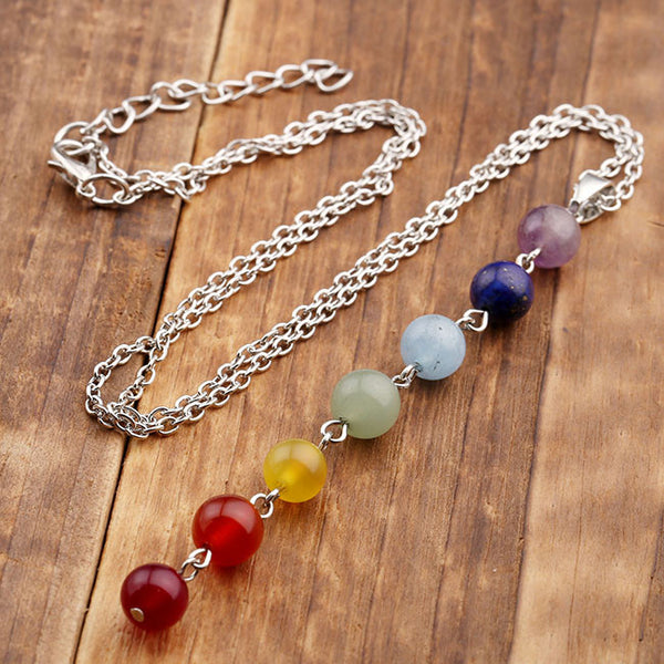 Reiki Chakra Silver Necklace Seven Healing Gemstone Beads