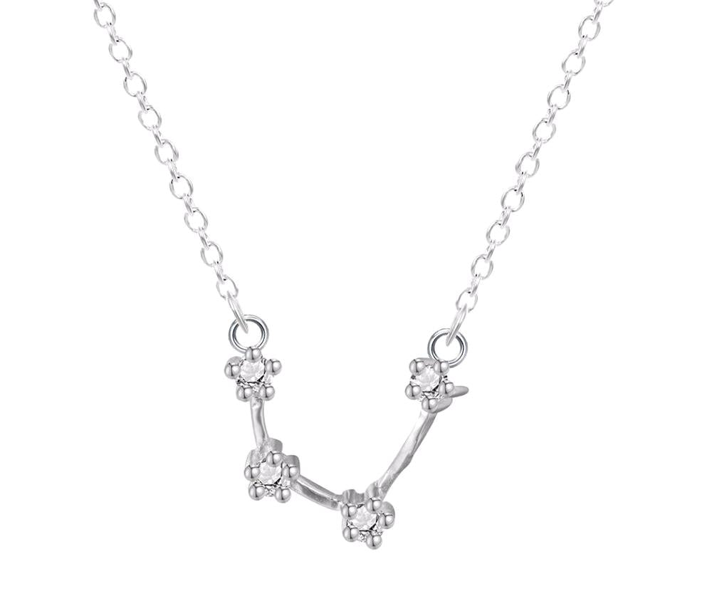 Aquarius Constellation Women's Necklace Zodiac Pendant Silver Chain