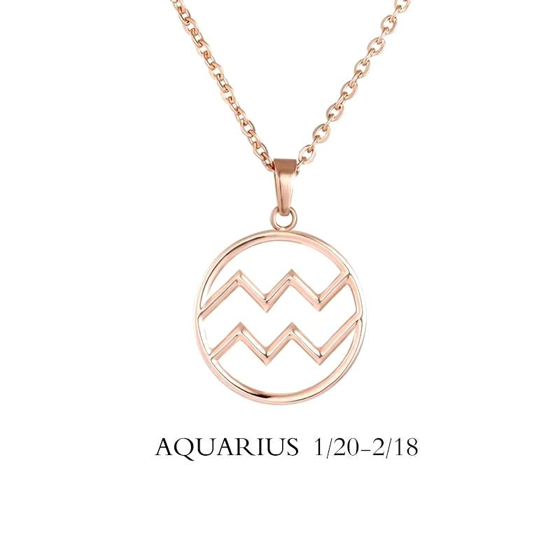 Aquarius Zodiac Sign Necklace Gold