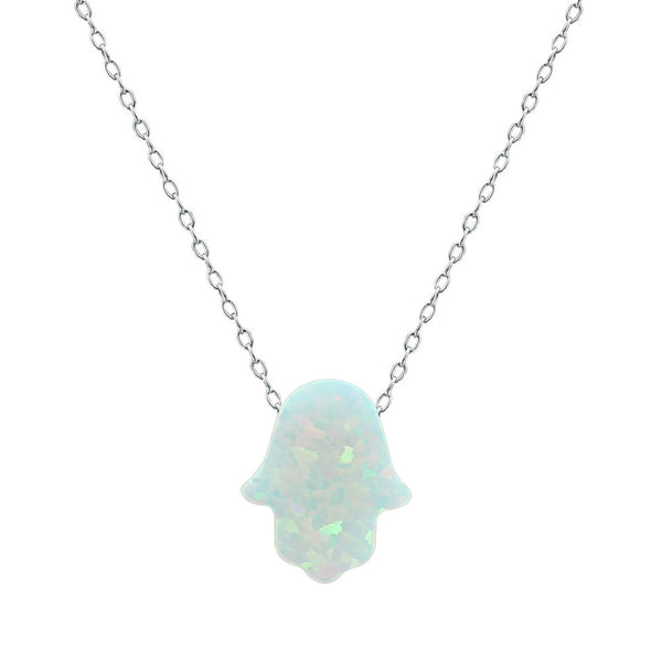 Hamsa Women's Necklace with White Opal Pendant Sterling Silver Chain