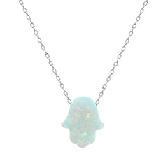 White Opal Hamsa Sterling Silver Necklace