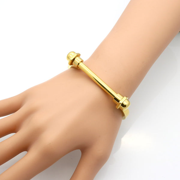 Iris Gold Bar Screw Cuff Bracelet