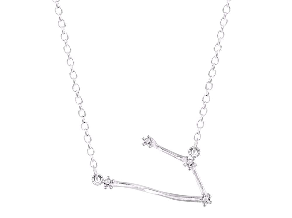 Aries Constellation Women's Necklace Zodiac Pendant Silver Chain