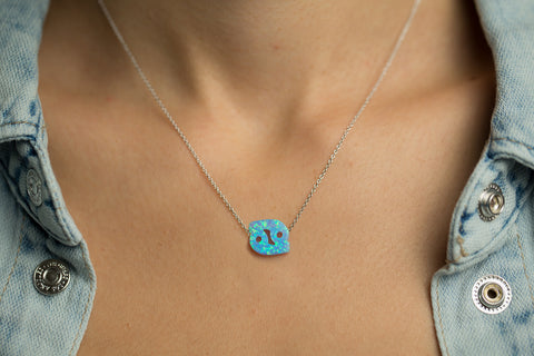Cancer Women's Necklace Blue Opal Zodiac Pendant Sterling Silver Chain
