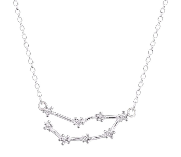 Capricorn Constellation Women's Necklace Zodiac Pendant Silver Chain