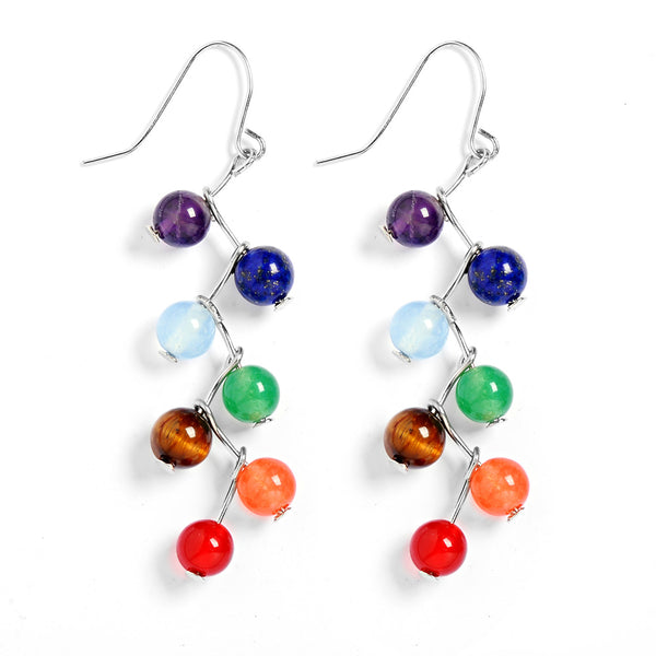 Chakra Earrings Seven Healing Gemstone Beads