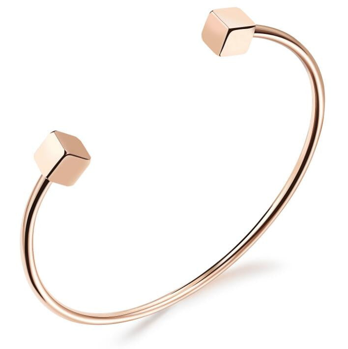 Gold Bangle Double Cube Bracelet