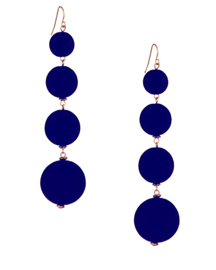 Multi Velvet Sphere Navy Blue Ball Drop Earrings