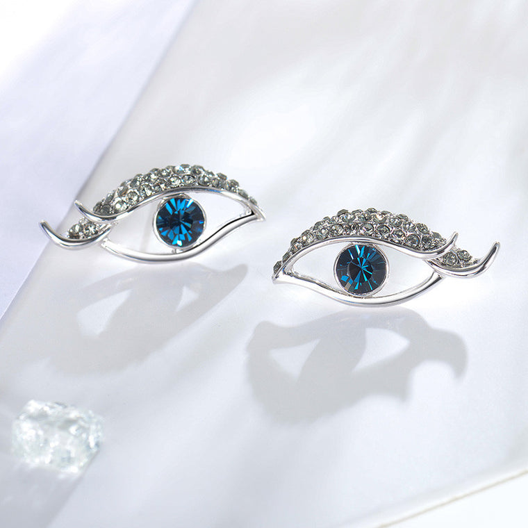 Blue Eye Rhinestone Stud Earrings