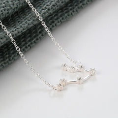 Gemini Constellation Women's Necklace Zodiac Pendant Silver Chain