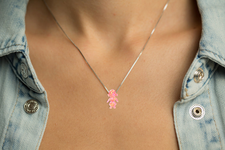 Pink Girl Opal Pendant Women's Necklace Sterling Silver Chain