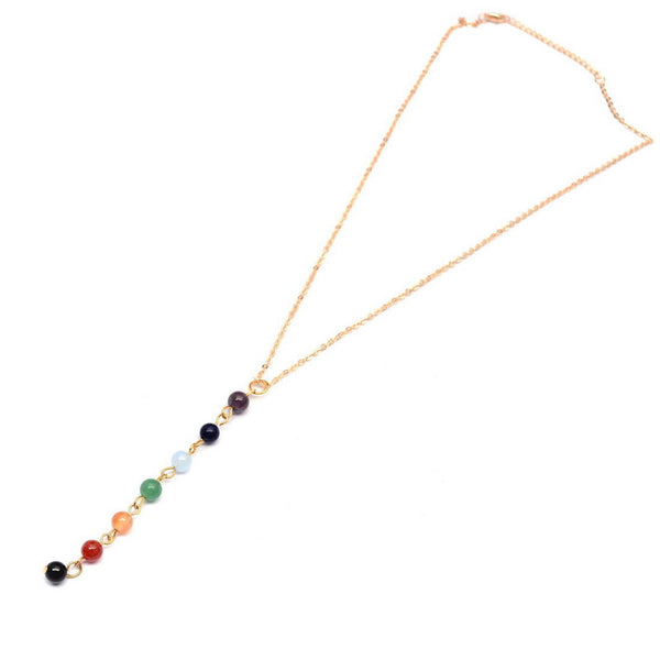 Reiki Chakra Gold Necklace Seven Healing Gemstone Beads