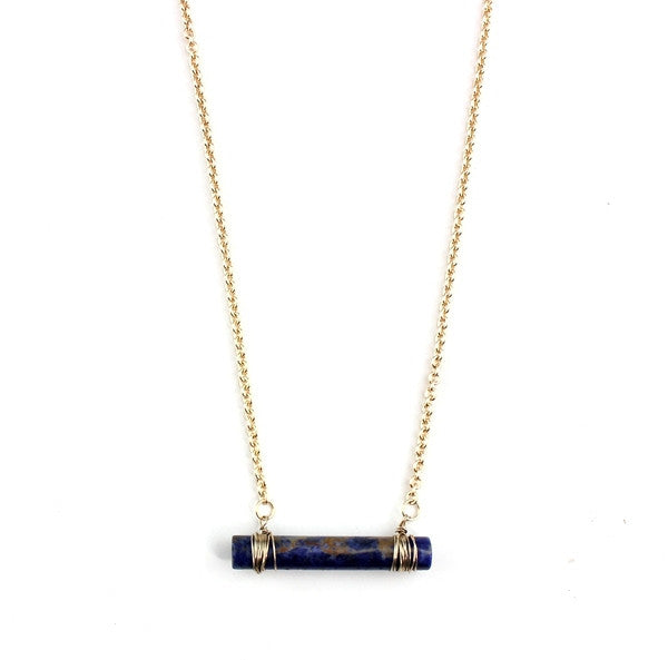 Blue Plessite Gold Bar Necklace
