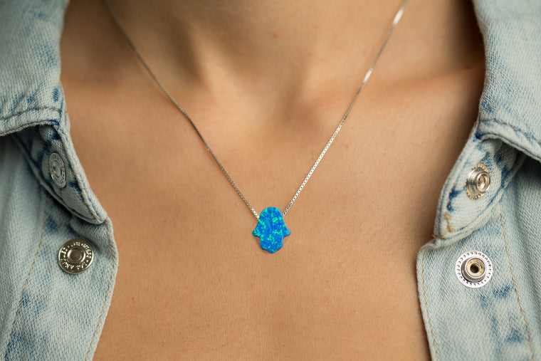 Hamsa Women's Necklace Blue Opal Sterling Silver Chain