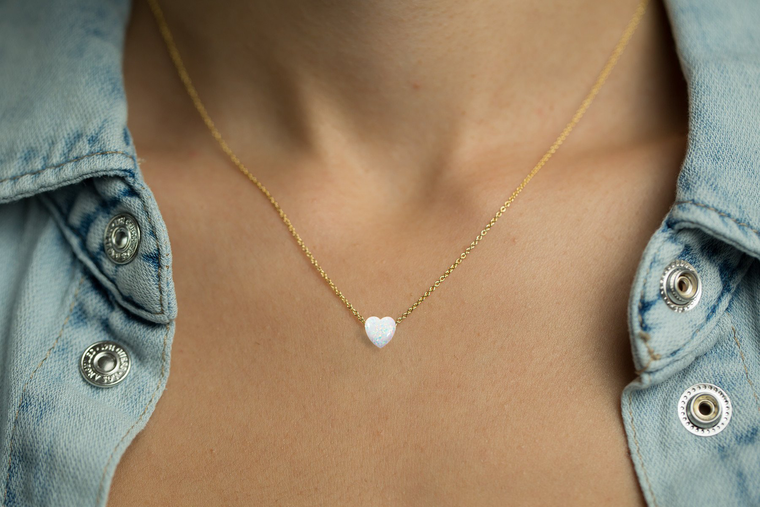 Heart Pendant Women's Necklace with White Opal Pendant Sterling Silver Chain In Gold