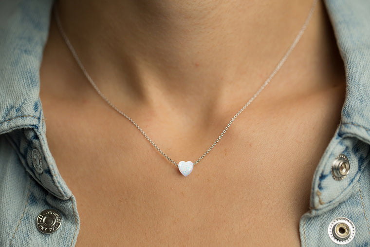 Opal Heart Sterling Silver Necklace
