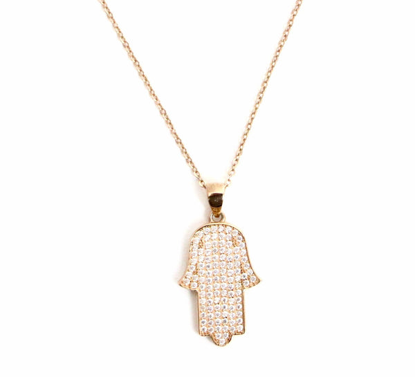 Hamsa Hand of Fatima Rose Gold Necklace