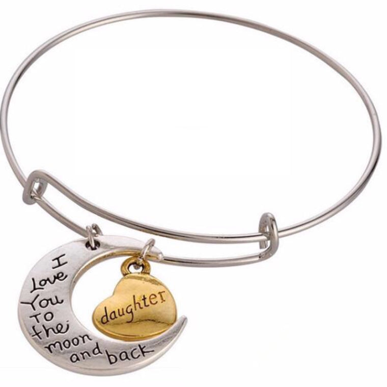Wire Bangle Bracelet with Daughter Charm