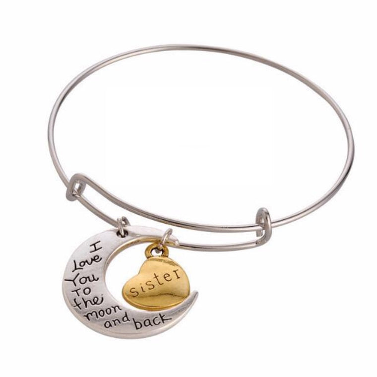 Wire Bracelet Bangle With Sister Charm