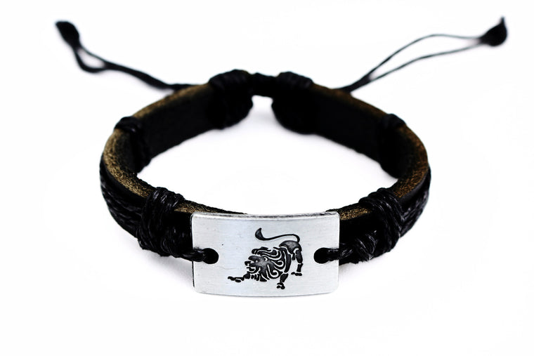 Leo Leather Cuff Black Bracelet