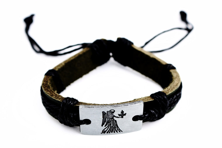 Virgo Leather Cuff Black Bracelet