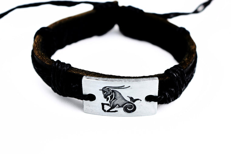 Capricorn Leather Cuff Black Bracelet