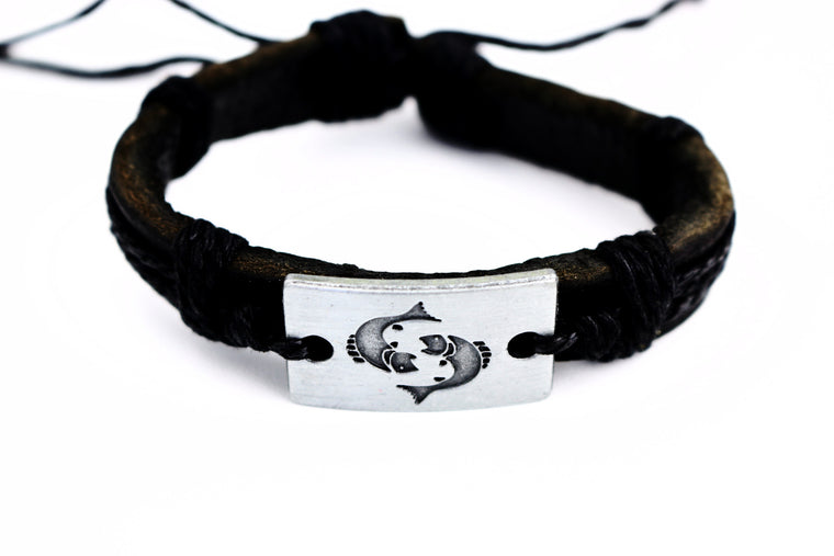 Pisces Leather Cuff Black Bracelet