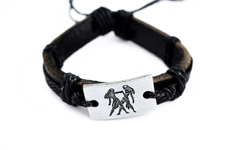 Gemini Leather Cuff Black Bracelet