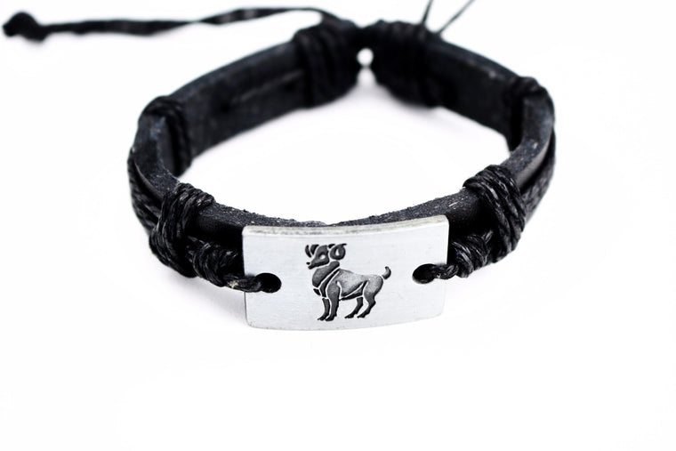 Aries Leather Cuff Black Bracelet