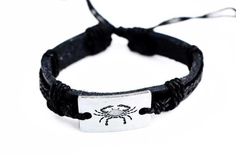 Cancer leather Cuff Black Bracelet