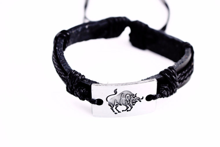 Taurus Leather Cuff Black Bracelet