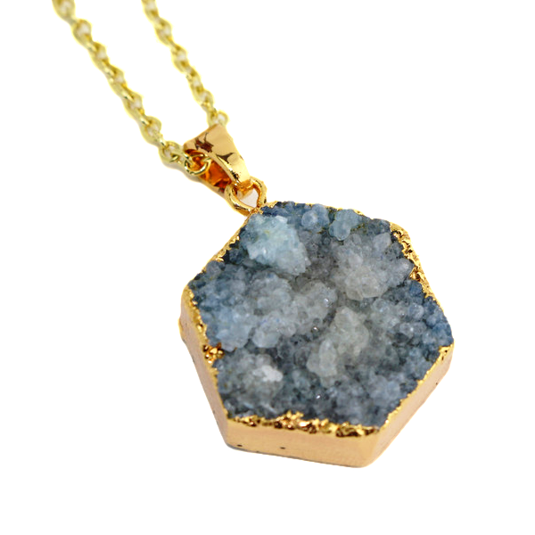 Grey Druzy Agate Hexagon Handmade Necklace: