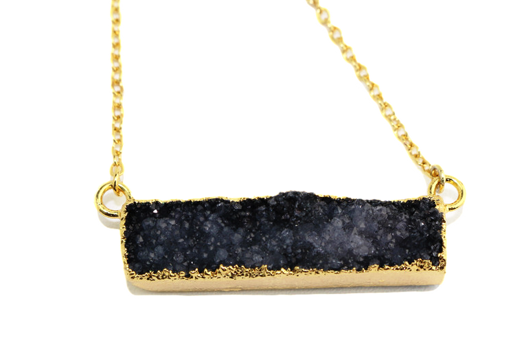 Grey Black Druzy Agate Bar Necklace