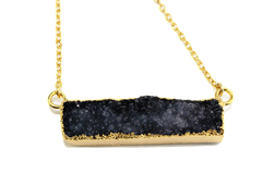 Black Druzy Agate Bar Necklace - Lulugem.com