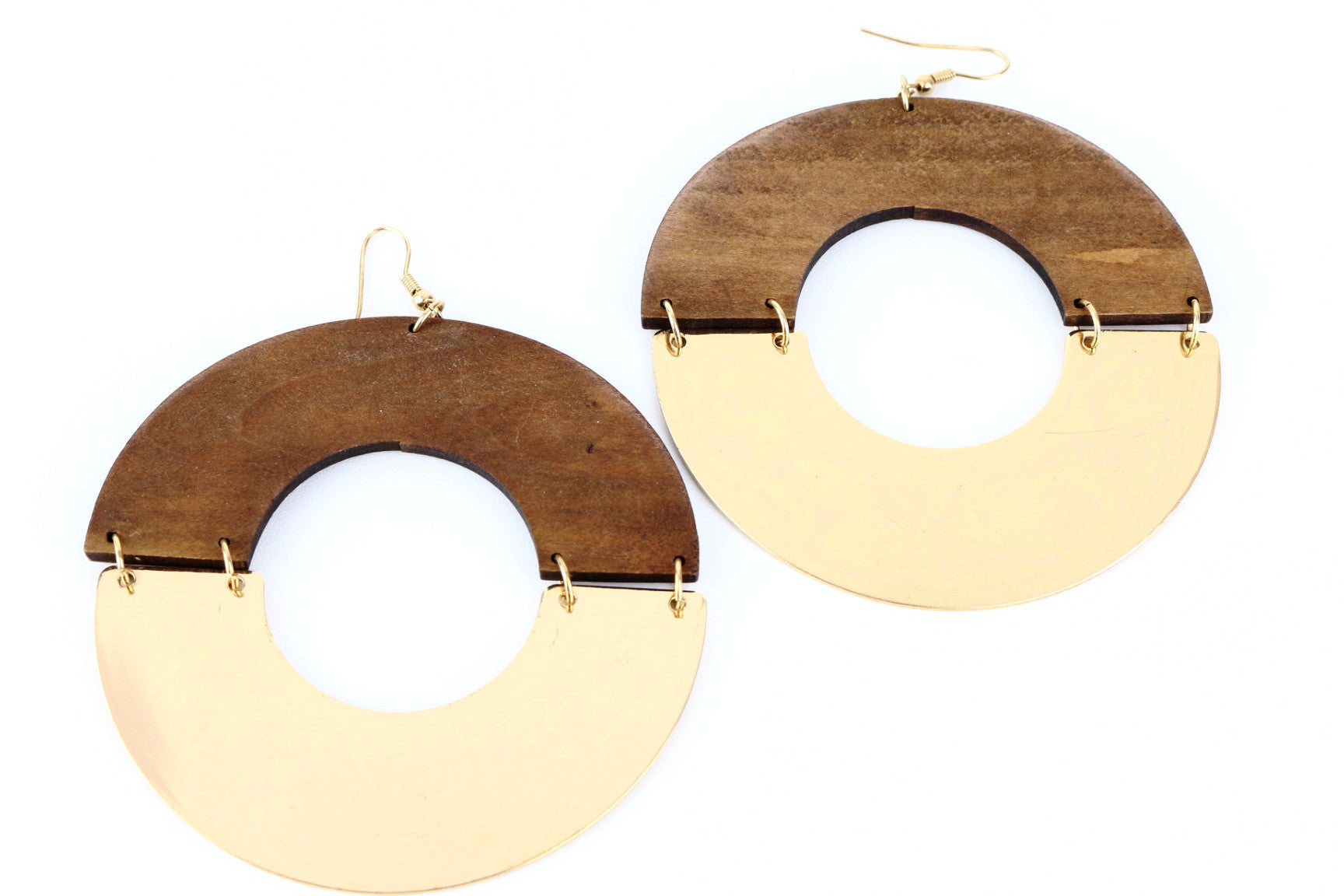 SandalWood and Gold Drop Hoop Earrings