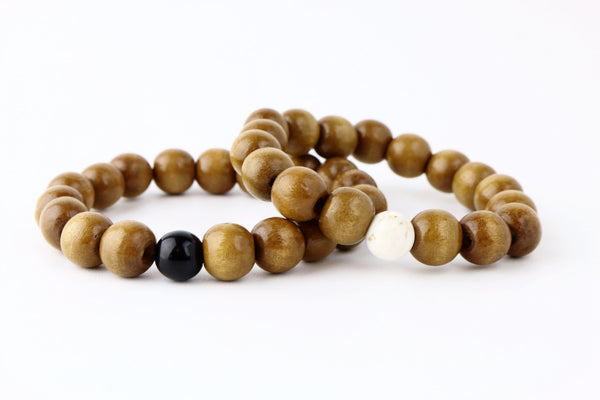 His Mala SandalWood and Jasper Bracelets - Lulugem.com