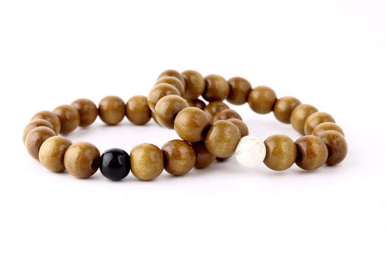 Couples Mala SandalWood and Jasper Bracelet Set