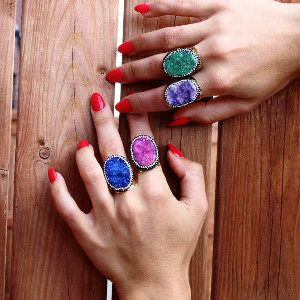 Purple Druzy Agate Gemstone Ring