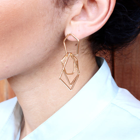 Geometric Gold Drop Earrings