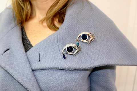 Blue Eye Rhinestone Evil Eye Brooch - Lulugem.com