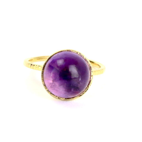 Amethyst Cabochon Silver Cocktail Ring