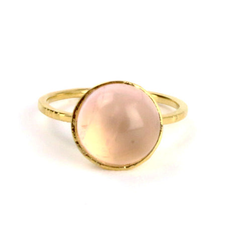 Rose Quartz Cabochon Silver Cocktail Ring