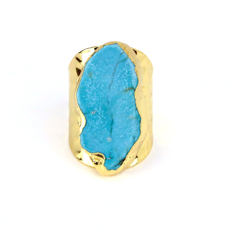 Raw Blue Turquoise Cuff Gold Ring