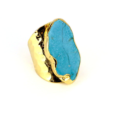 Blue Raw Geometric Turquoise Cuff Ring - Lulugem.com