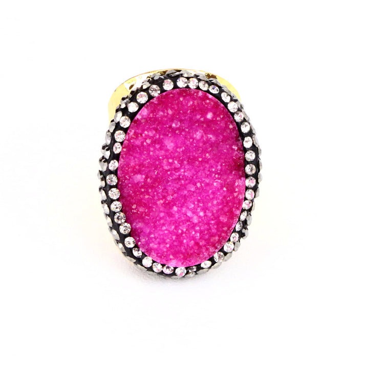 Pink Druzy Agate Gemstone Ring