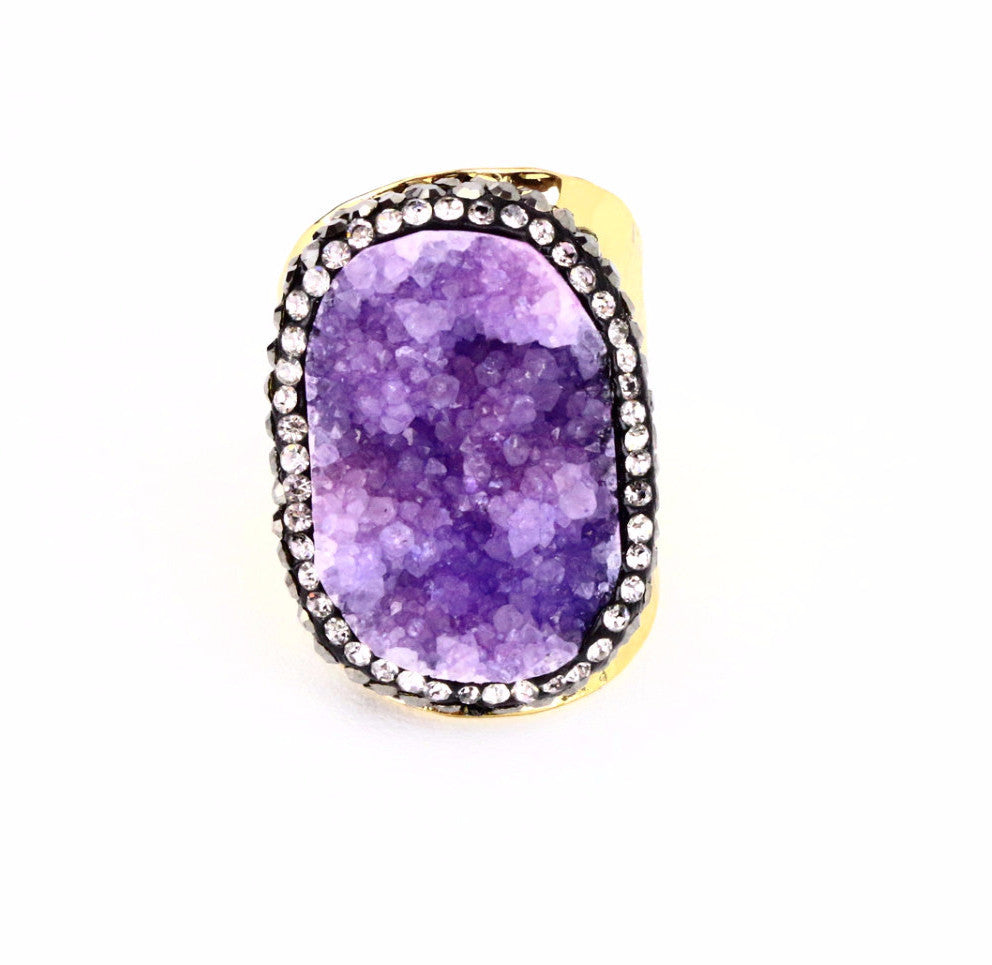 Lilac Druzy Agate Gemstone Ring