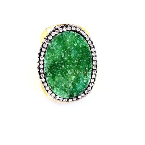 Green Druzy Agate Ring
